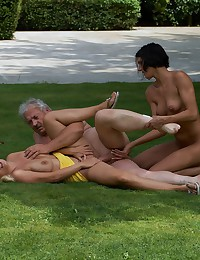 Very lucky gardener gets to fuck two hotties