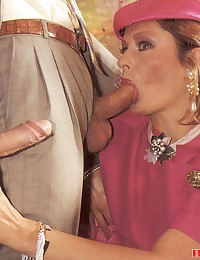 Hot classic brunette shagged by two peckers