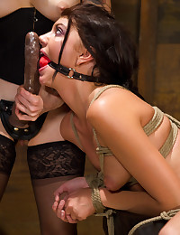 Mistress with long strapon fucks her
