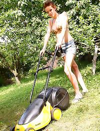 Shiny bikini on outdoor slut