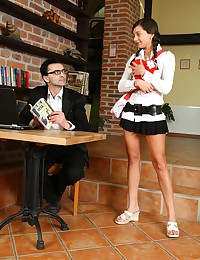 Young coed came to her teacher's place and he seduced her with clit petting. Lara turned horny and licked his balls.