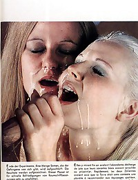 Two seventies girls getting covered with cum