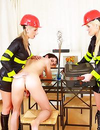 Girls in uniform toy bang him