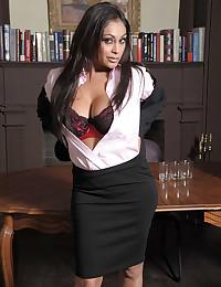 An office babe striptease
