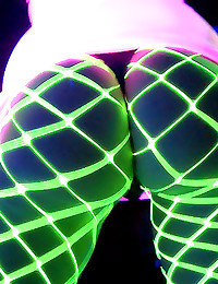 Glowing babes in night club