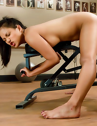 Girl works out and dildo fuck...