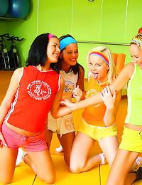 Four sporty workout girls