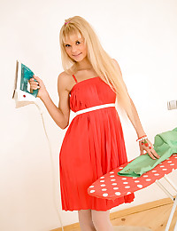 Lolly Hardcore - Teen slides out of her red lingerie leaving only her lacy stockings on