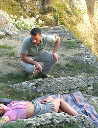 Tired teen falls asleep outdoor and gets cock