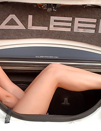 Alison Angel - Busty blonde model posing by expensive car