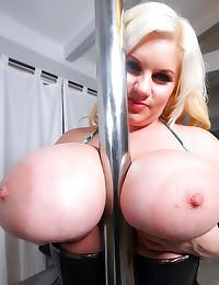Corset on huge tits milf