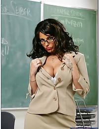 Slutty teacher enjoying students cock