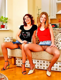 Two girls play in pantyhose