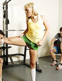 Skinny girl in weight room fucking