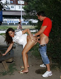 Wicked couple having naughty sex in public