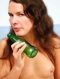 Green bottle in teen ass