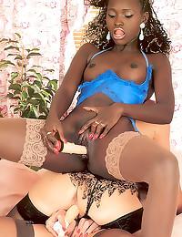 Retro lesbian interracial thr...