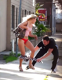 Skirt pulled off in public