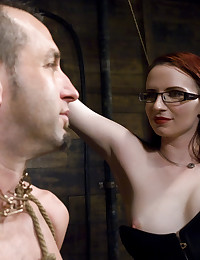 Claire Adams dominates slave boy and fucks his ass