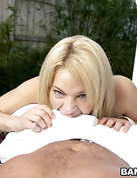 Stroking that cock like a champion, and some hot teasing, our man Dale has but one option, blow his load all over Ally's naughty, slutty mouth.