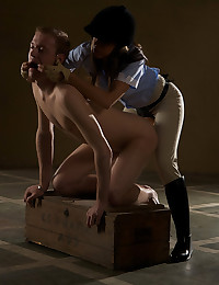 Riding Mistress Abigail fucks stableboy up his ass.