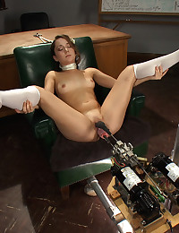 The machines unleash on the hot new amateur girl's deep pussy and she cums from fingering her ass while the cocks work her tight pussy.