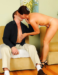 The milf sits on his dick