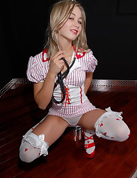 Teen Kasia - Little teeny plays a nurse while stripping slowly
