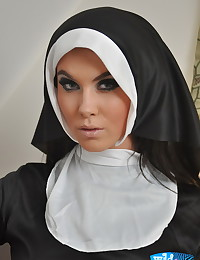 Wild Anna - Promiscuous young nun pulls her frock up showing thongs and bare tits