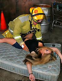 Fireman fucks slut with cock