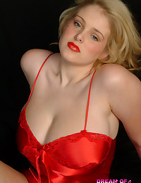 Dream of Ashley - Red silk slipping off Ashley's amazing 100% natural king-size melons