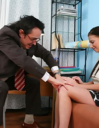 Check hot Diana's ass moving up and down when she pleases her old and perverted math teacher, riding his fat cock.
