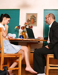 Voluptuous brunette coed agrees to satisfy her perverted old teacher in exchange of good marks