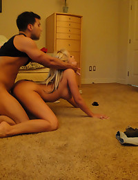 Sexy blonde fucks on floor in hacked vid!