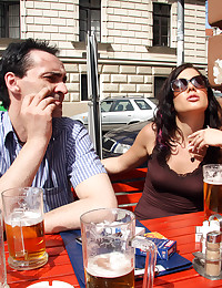 Old senior fucks much younger chick in public