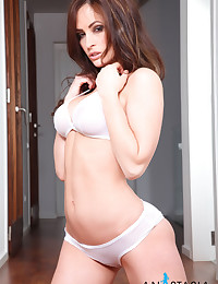 Sheer white bra and panty set is sexy and remarkably arousing