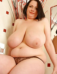Fat slut bathroom striptease