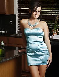 Satin dress on hottie