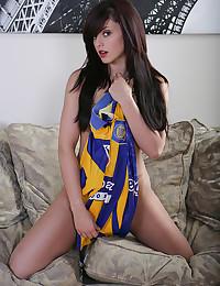 Soccer babe strips