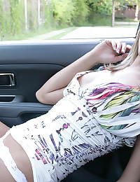 Kiss Kara - Adorable young teaser lets you see her tits and round booty in the car