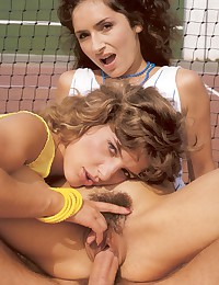 Real horny retro tennis threesome outdoors