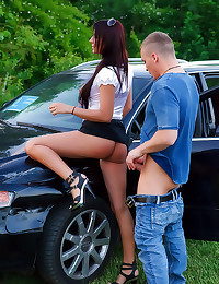 Blouse babe fucked over car
