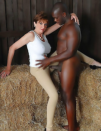 In the barn with black guy