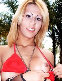 Bikini shemale strips outdoors
