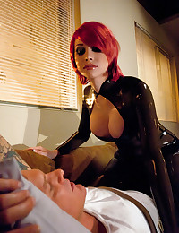 Hot tranny redhead in latex
