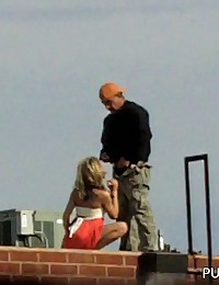 Rooftop blowjob from a real skank