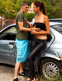 Leather pants girl fucked out...