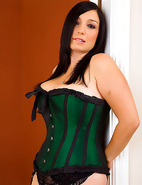 Busty beauty in tight corset