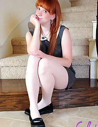Lucy Daily - Shy schoolgirl shows that she's wearing no panties under her pantyhose