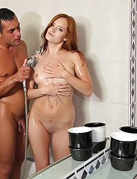 Gorgeous Redhead Drilled In The Shower